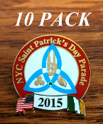 2015 NYC St. Patrick's Day Parade Pin: 10 PACK