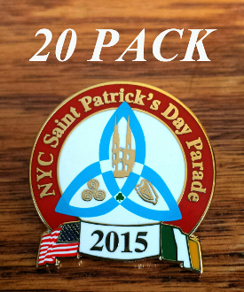 2015 NYC St. Patrick's Day Parade Pin: 20 PACK