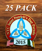 2015 NYC St. Patrick's Day Parade Pin: 25 PACK
